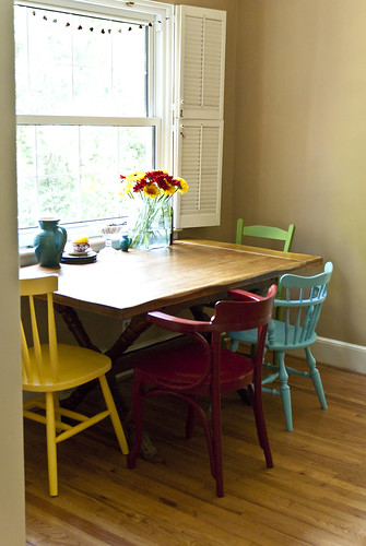 Mismatched chairs meg mcelwee flickr - Colored kitchen chairs ...
