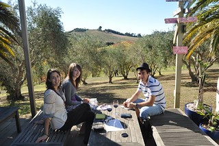 "Tasting wine at Stonyridge Vineyard. We all quite enjoyed ""Luna Negra"" 