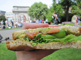 Picnic at St. Stephen's Green Park -  Homemade Vegan Sandwich | by veganbackpacker