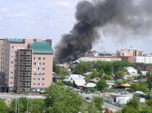 Пожар на стройке в Алексеевском районе