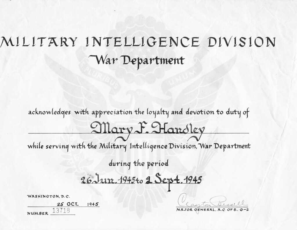 Wwii military intelligence division certificate military flickr wwii military intelligence division certificate by david c foster yadclub Gallery