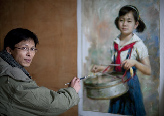 Mr Kim Hong Il, a state artist - Mansudae art studio Pyongyang North Korea | by Eric Lafforgue