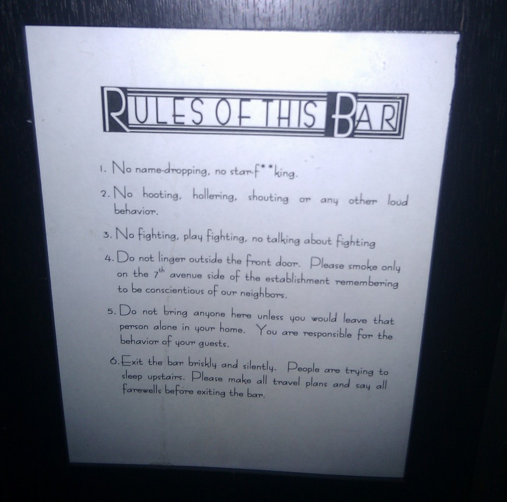 Rules of Little Branch | Rules of the bar Little Branch in