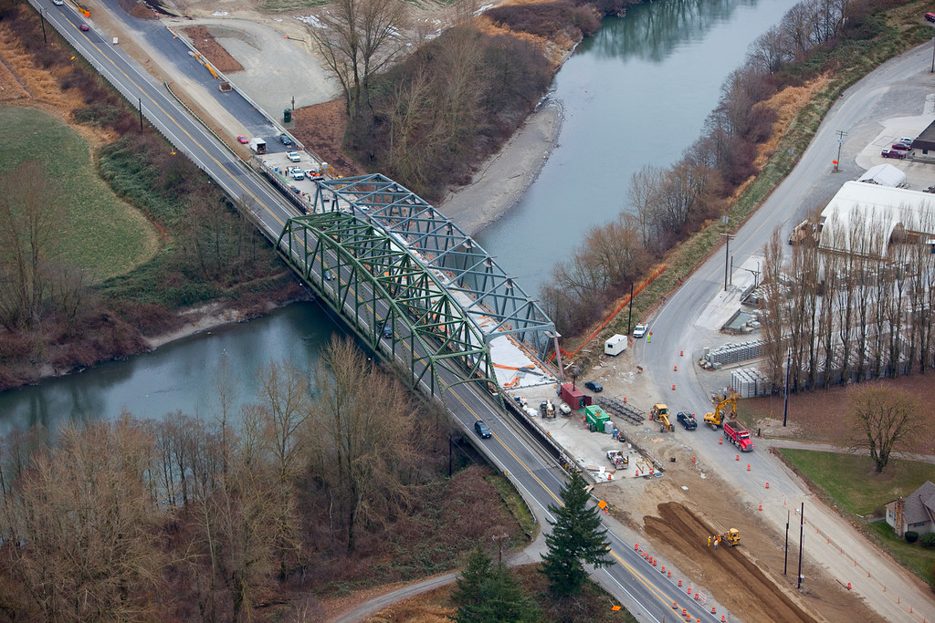 Aerial view of SR 539 Nooksack River Bridge | An aerial ...