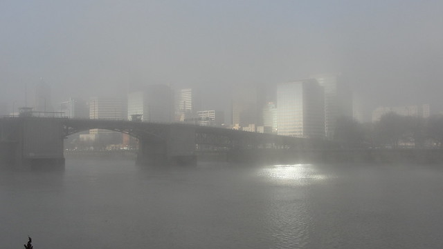A view from the Eastbank Esplanade westward across the Willamette River in Portland on a foggy morning, with downtown buildings beginning to emerge into sunshine