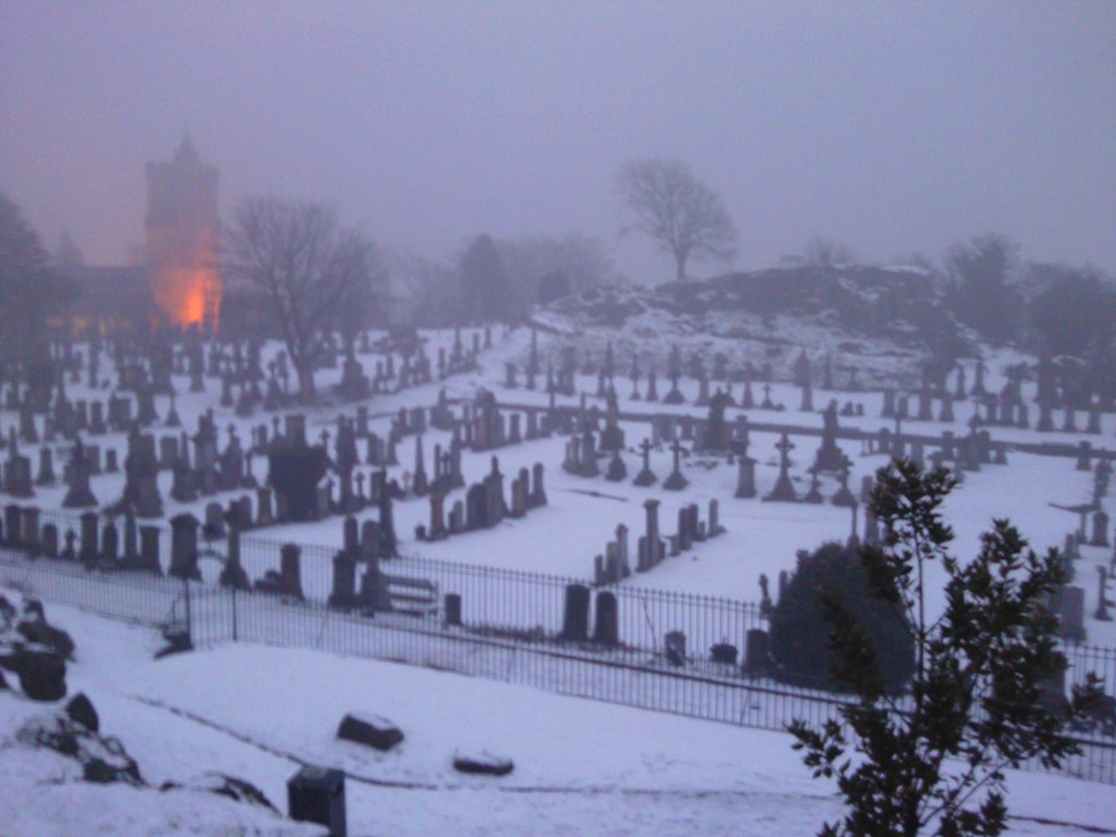 Winter Dusk At Holy Rude Church And Valley Cemetery Stirl