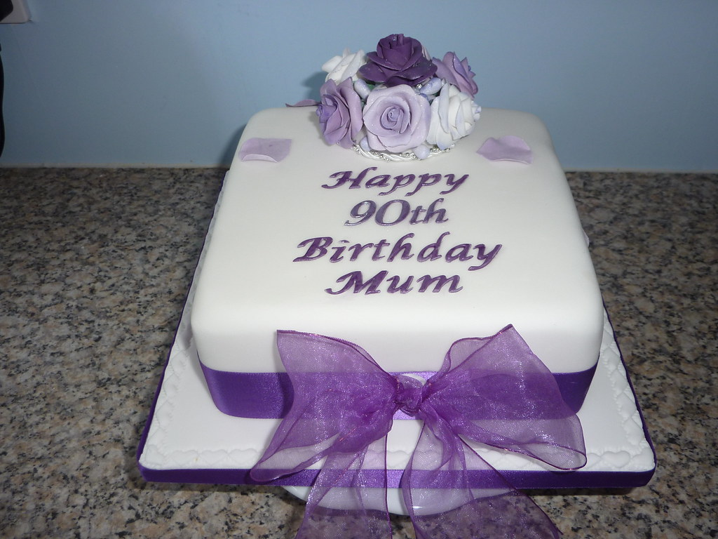 Birthday Cake Designs In Square : Lilac Roses Birthday cake Square sponge cake with lilac ...