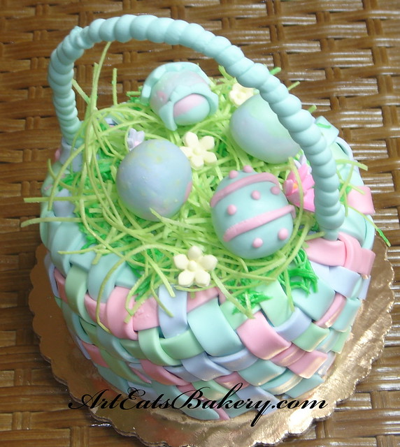 Pastel Fondant Easter Basket Cake With Edible Straw And Fo