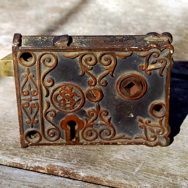 Antique Rim Lock This Ornate Antique Metal Rim Lock Or