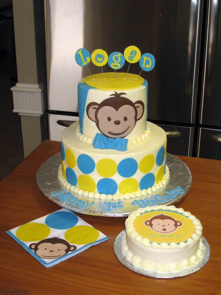 Mod monkey 1st birthday cake mod monkey 1st birthday for Monkey birthday cake template