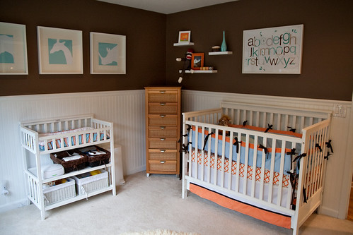 Aqua/Brown/Orange Boy's Nursery Design | by Tabitha Blue / Fresh Mommy
