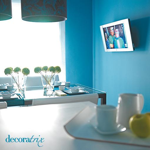 Paredes pintadas en azul turquesa todas las paredes se for Color azul grisaceo para paredes