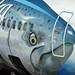 One really huge salmon on the side of a Alaska 737 at Sea-Tac