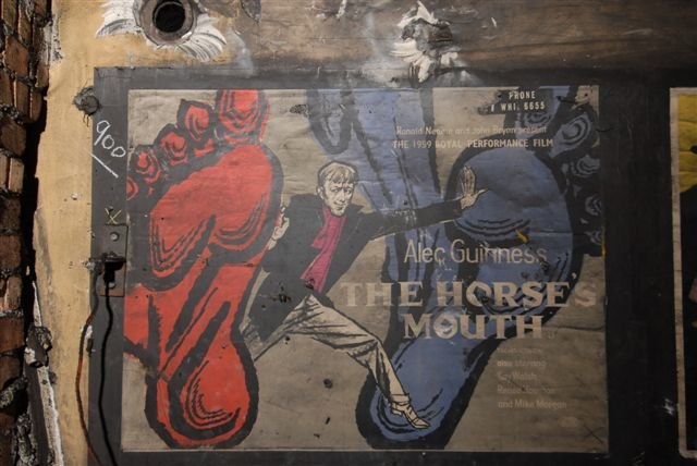 """The Horse's Mouth"" with Alec Guinness - c1959 movie film poster as found in disused area of Notting Hill Gate station, London, 2010"