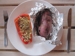 Stuffed red peper and baked yam | by veganbackpacker