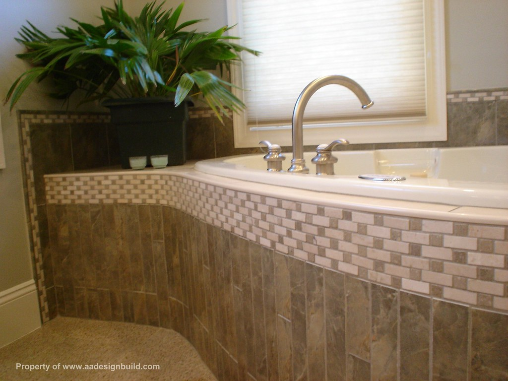 Custom tile design master bathroom flickr - Corner tub bathrooms design ...