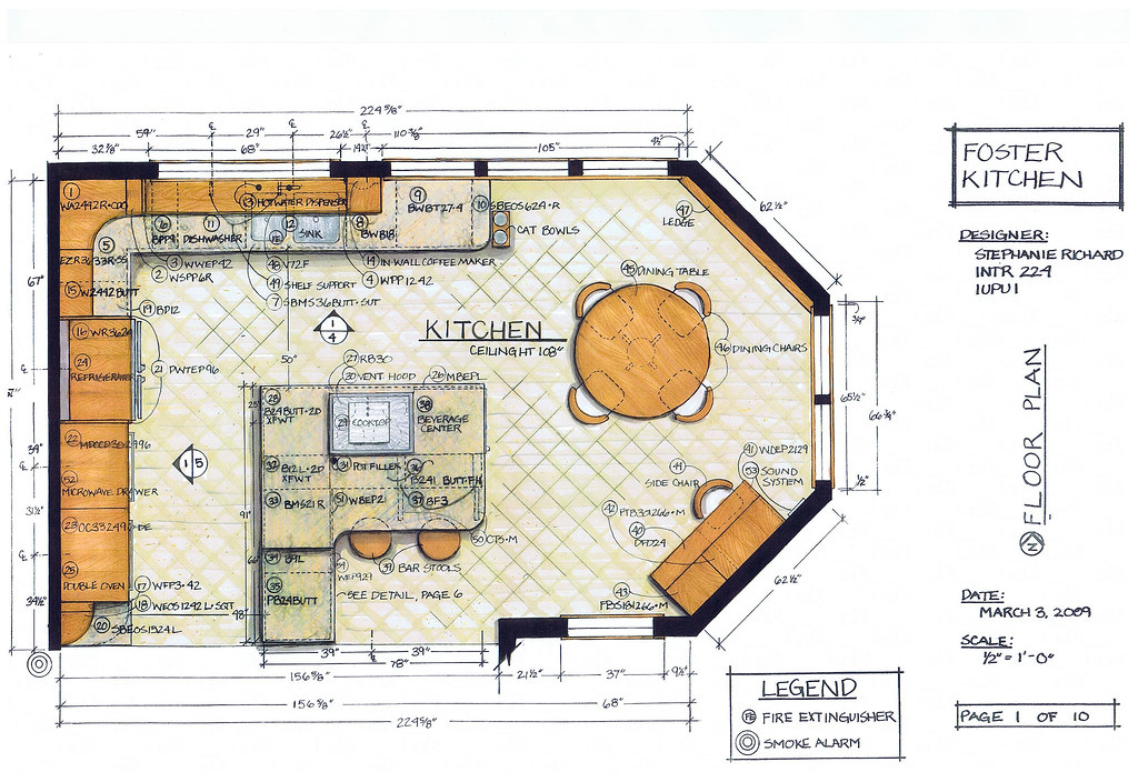 Foster kitchen design floor plan intr 224 residential Best kitchen layout plans