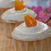 orange cupcakes with jasmine petal jelly and vanilla cream cheese frosting