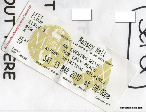 Our Lady Peace Concert Ticket at Massey Hall | by Jeff | concertaholics.com