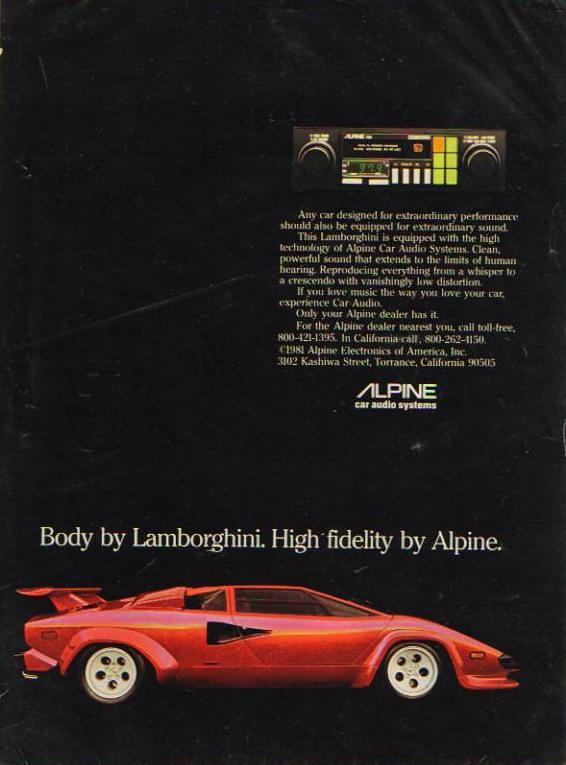 Lamborghini Amp Alpine Stereo Ad 1982 Ad A Lot Of These