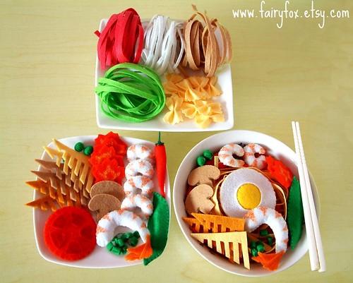 Felt Food Toys R Us : April felt food pattern ramen japanese udon bowtie pasta