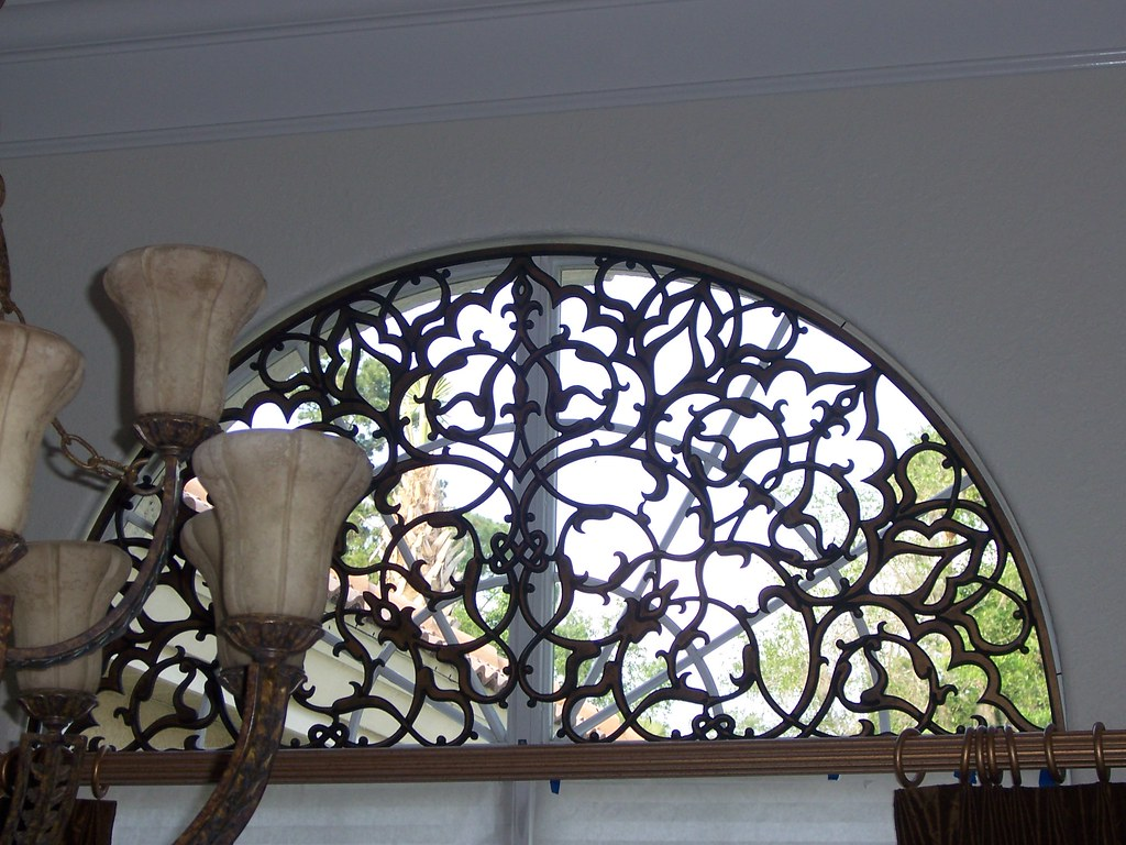 Faux Wrought Iron Transom Arched Window Insert The