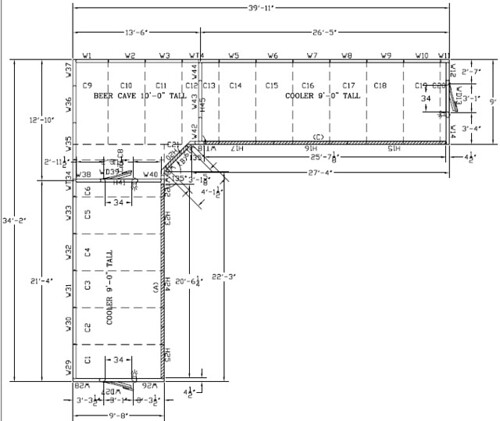 Beer Cave Amp Glass Door Walk In Drawing Technical Drawing