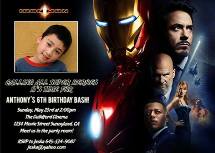 Iron Man Movie Custom Birthday Invitation wwwartfirecom Flickr