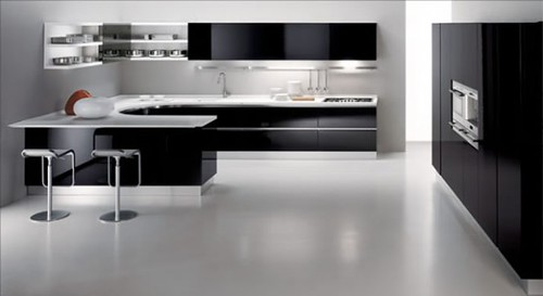 Black Kitchen With White Back Splasd