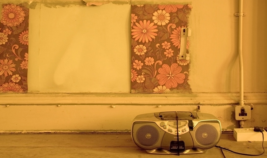 Ghetto Blaster And Sixties Seventies Floral Print Wallpa