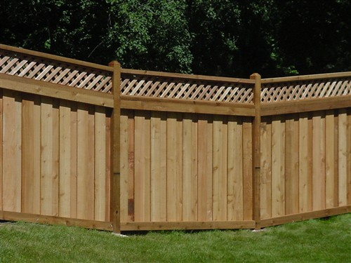 Red Cedar Message Board ~ Western red cedar board over lattice top fence