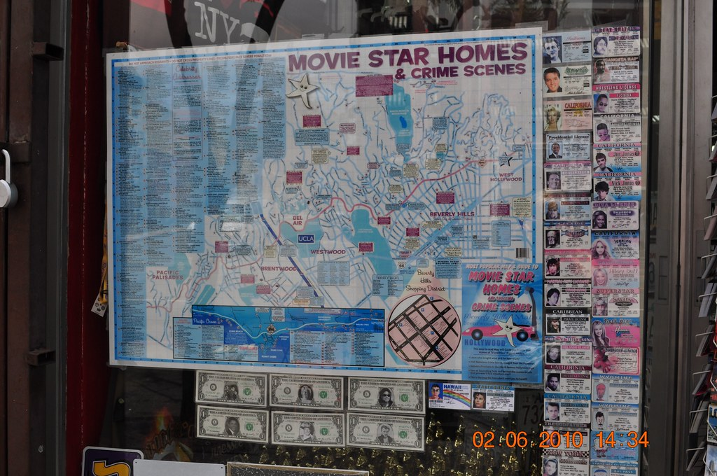 Map of movie star homes crime scenes do not approach for Stars houses in la