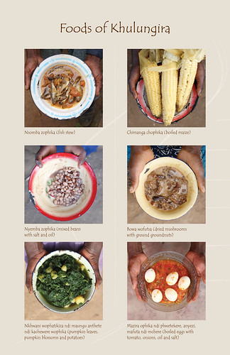 Foods of Khulungira: Fish stew, boiled maize, mixed beans, dried mushrooms, pumpkin leaves and egg stew | by International Livestock Research Institute