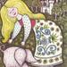 1960's Nursery Rhyme Book Illustration - Girl With Pig