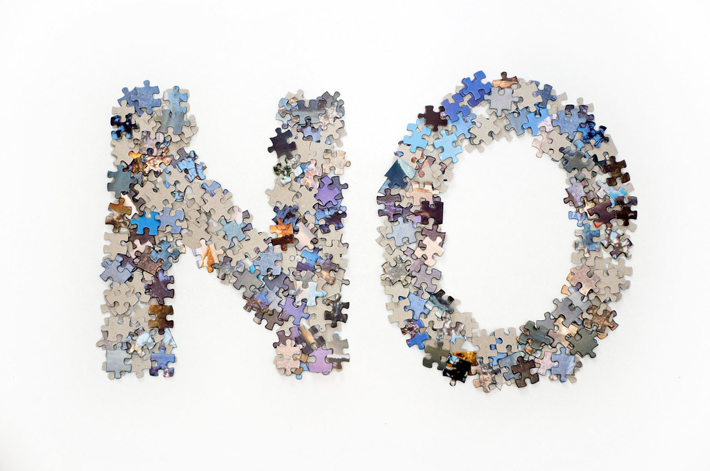 The Word No Made From Jigsaw Puzzle Pieces The Word No