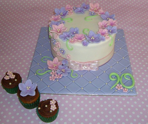 Birthday Cake Decorating Ideas Blog : 90th Birthday Cake & Cupcakes Birthday cake for a darling ? Flickr