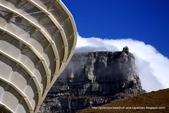 The Cape Town Stadium bow outlined against Table Mountain | by Joanne/CapeTownFIFAWORLDCUP2010