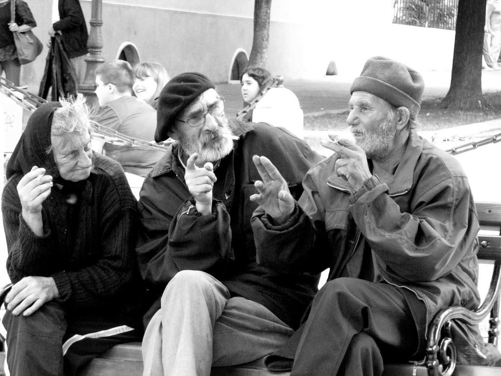 Old People Talking In Sremski Karlovci