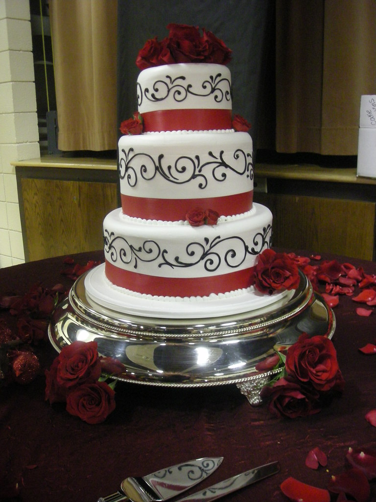 White with black/silver/red accents - Bride wanted a white ...   Affordable Wedding Cakes Black And Red