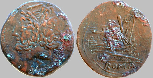 099/B1 Luceria L As. Irregular mint, McCabe F2 first style. slanted bar / Janus / L; slanted I / Prow / ROMA. RBW 30g87. Slanted obv. value mark, erratic rev. in style. | by Ahala