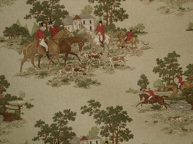 Horse Hunting Jumping Toile Fabric Orange A P Kaufmann