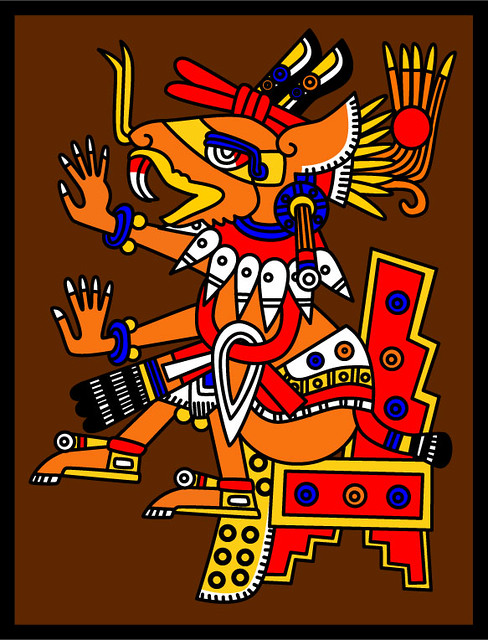 Huehuecoyotl - Codex Borgia 64 | Aztec god of music, dance a ... Coyote