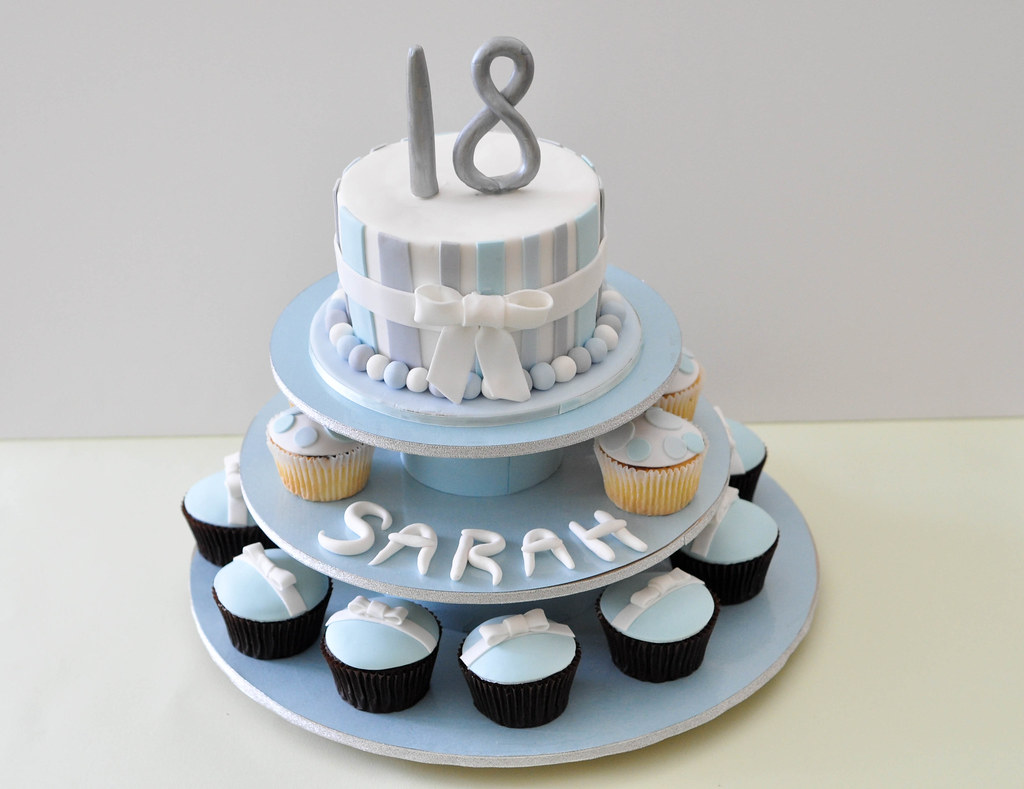 18th Birthday Cake Cupcakes Blue and silver Themed wwwmys Flickr