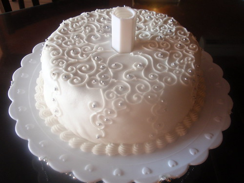 Modern Cake Decoration With Royal Icing : Base cake with wite fondant and white Royal Icing decorati ...