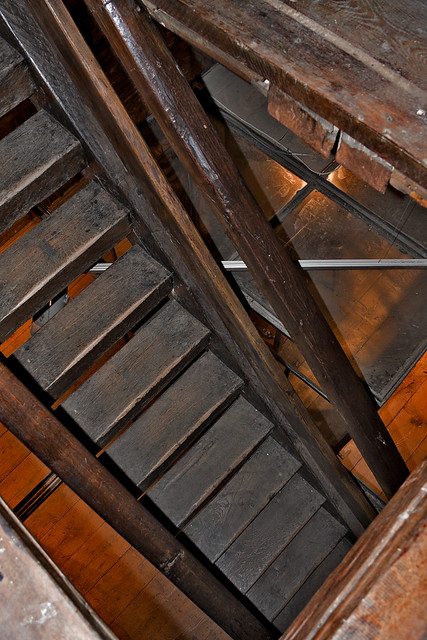 Staircase With Wooden Tower : Old wooden staircase inside clock tower