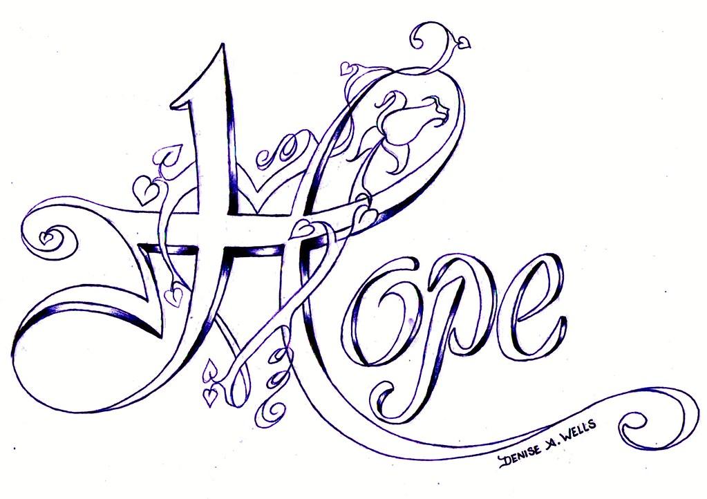 hope tattoo design by denise a wells hope tattoo desi flickr. Black Bedroom Furniture Sets. Home Design Ideas