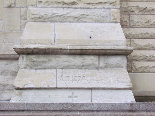 "Cornerstone of Holy Name Cathedral, Hit With Bullets From Earl ""Hymie"" Weiss Execution 