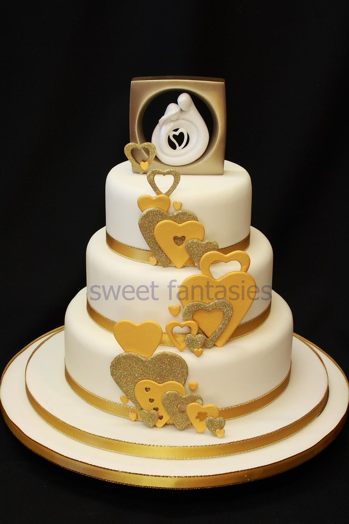 wedding cake jobs golden hearts wedding cake 3 tier wedding cake with gold 22995
