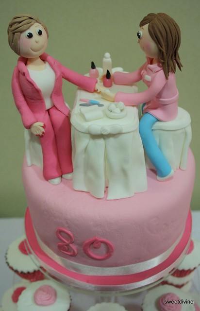 Nail salon cake topper a beloved collegue who volenteers for Salon cake design