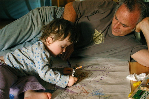 Lu drawing with her uncle Pat | by shauna | glutenfreegirl